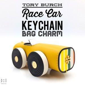 Tory Burch Leather Race Car Keychain Bag Charm